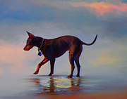 Canines Digital Art - The First Wave by Kari Nanstad
