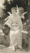 Garden Drawings - The First Whisper of Love after Bouguereau by  John Douglas Miller