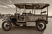 Ford Model T Car Posters - The First Woodie sepia Poster by Steve Harrington
