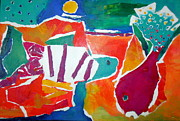 Reds Orange And Blue Prints - The Fish in the Sea Print by Diane Fine