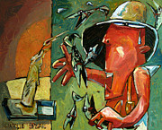 Juggling Painting Originals - The Fish Juggler in the White Hat in Candlelight by Charlie Spear