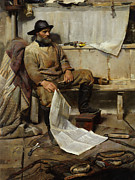 Reading The Paper Prints - The Fisherman Print by Frank Richards