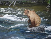 Fishing Creek Pastels Prints - The Fisherman Print by Laurie Cartwright