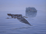 Great Blue Heron Paintings - The Fisherman by Richard De Wolfe