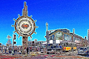 Street Signs Digital Art Posters - The Fishermans Wharf San Francisco California 7D14232 Artwork Poster by Wingsdomain Art and Photography
