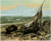 Boat On Beach Paintings - The Fishing Boat by Gustave Courbet