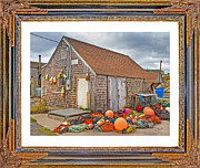 Shed Posters - The Fishing Village Scene Poster by Betsy A Cutler East Coast Barrier Islands