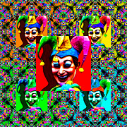 Symmetrical Digital Art Prints - The Five Jesters 20130129 Print by Wingsdomain Art and Photography