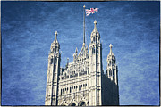 Queen Elizabeth Framed Prints - The Flag Flies Framed Print by Joan Carroll