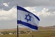 Fluttering Posters - The flag of Israel waving in the Golan Heights israel Poster by Ronald Jansen