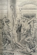 Grey Pastels Prints - The Flagellation of Christ Print by William Adolphe Bouguereau