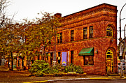 Brick Building Art - The Flatiron Building in Pullman Washington by David Patterson