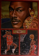 Basketball Sports Pastels Prints - The Flight Instructor feat Michael Jordan Print by D Rogale