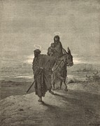 Bible Drawings Prints - The Flight Into Egypt Print by Antique Engravings