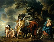 Holy Family Religious Posters - The Flight Into Egypt Poster by Jacob Jordaens