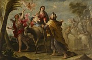 Virgin Mary Paintings - The Flight into Egypt by Jose Moreno