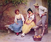 Flirtation Paintings - The  Flirtation by Pg Reproductions