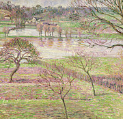 Pink Flower Branch Paintings - The Flood at Eragny by Camille Pissarro