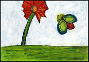 Panel Drawings Metal Prints - The Flower and the Bug Metal Print by Cathy Peterson