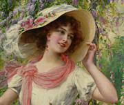 Straw Hat Digital Art - The Flower Garden Detail by Emile Vernon