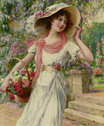 Sun Hat Digital Art Posters - The Flower Garden Poster by Emile Vernon