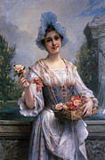 Flower Basket Framed Prints - The Flower Seller Framed Print by Leon Commerre