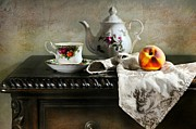 Table Top Framed Prints - The Flower Teapot Framed Print by Diana Angstadt