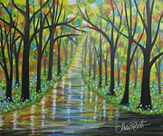 Abstract Impressionism Paintings - The Flowered Path by Molly Roberts
