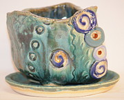 Flower Ceramics Originals - The Flowing Green Rock Planter by Susan Perry