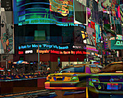 The Fluidity Of Light - Times Square New York Print by Miriam Danar