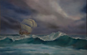 Storm Clouds Paintings - The Flying Dutchman by George Dadiani