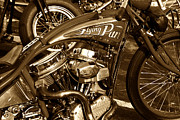 Antique Harley Davidson Framed Prints - The Flying Panhead Framed Print by David Lee Thompson