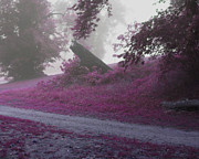 Rural Decay  Digital Art - The Foggy Road by Cheryl Heffner