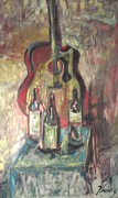 Guitar Painting Originals - The Following by Shawn  Kenney