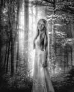 Blonde Framed Prints - The Forest Princess BW Framed Print by Erik Brede