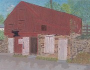 Old Barns Pastels Posters - The Forge Waterford VA Poster by Cathy Pierce Payne