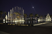 Wayne Oberparleiter Metal Prints - The Fountain at Night Metal Print by Wayne Oberparleiter