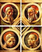 Clockface Framed Prints - The four Evangelists Framed Print by Paolo Uccello