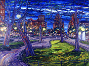 Greenwich Village Paintings - The Four Guardian Trees Of Washington Square Park by Arthur Robins