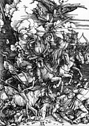 Woodcut Paintings - The Four Horsemen of the Apocalypse by Albrecht Durer