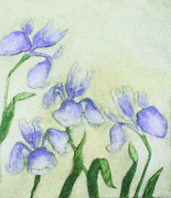 Gardens Digital Art Originals - The Four Irises by Wide Awake  Arts