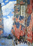 Frederick Digital Art Posters - The Fourth Of July Poster by Frederick Childe Hassam