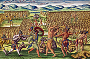 Tribes Paintings - The French Help the Indians in Battle by Jacques Le Moyne