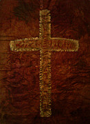 Christian Artwork Painting Originals - The Fresco Cross by Absinthe Art By Michelle LeAnn Scott