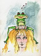 Watercolor Drawings Originals - The Frog And The Princess by Angel  Tarantella