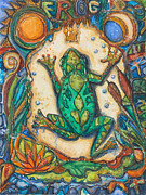 Frog Mixed Media Posters - The Frog Prince   Children of the Earth Series Poster by Patricia Allingham Carlson