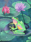 Lily Pond Paintings - The Frog by Vivien Rhyan