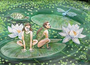 Lilly Pond Paintings - The Frogpeople by Maria Elena Gonzalez