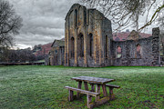 13th Century Framed Prints - The Frosty Bench Framed Print by Adrian Evans