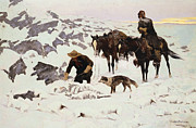 Fine American Art Metal Prints - The Frozen Sheepherder Metal Print by Frederic Remington